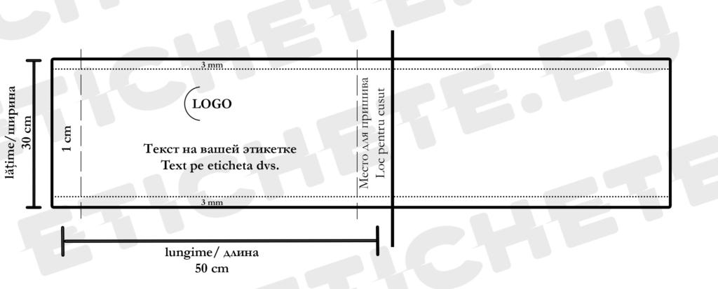 Eticheta textila cu dimensiuni individuale la comandă | Etichete.eu
